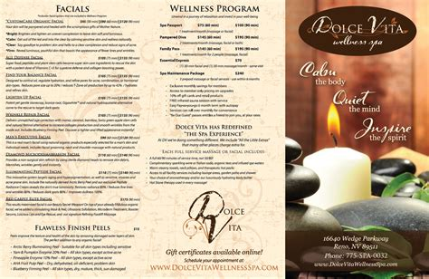 image gallery spa menu