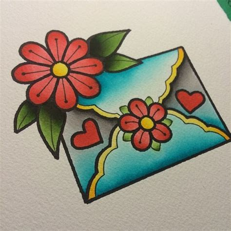 old school tattoo watercolor alex strangler envelope tattoo and envelopes on pinterest