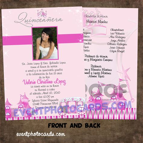 quinceanera invitation template event photo cards