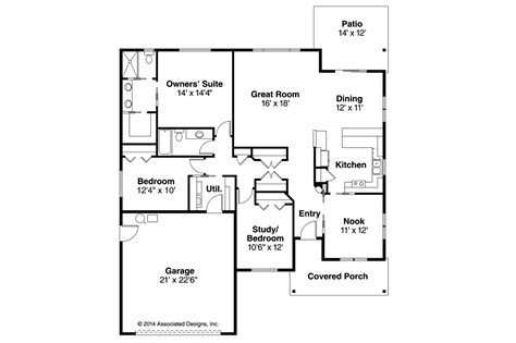 houses floor plan craftsman house plans pineville 30 937 associated designs