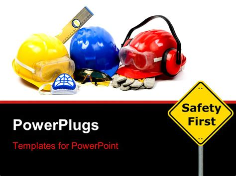 Powerpoint Template Safety Gear Kit Close Up With Safety First Sign Board In Foreground 25556 Microsoft Powerpoint Templates Safety