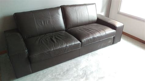 kivik leather sofa 3 seater furniture sofas on carousell