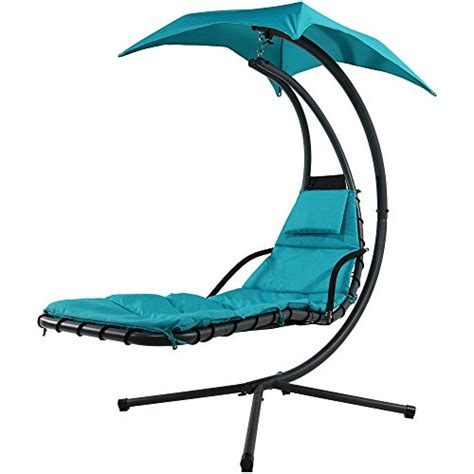 tall chaise lounge sunnydaze teal floating chaise lounger swing chair with