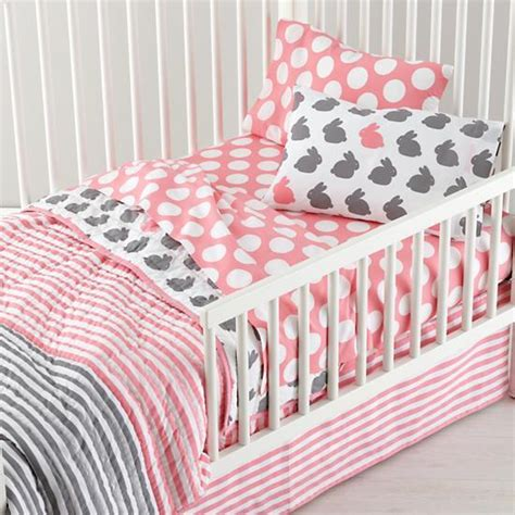 Toddler Bed Sheets Land Of Nod Grey Pink Toddler Bedding The Land Of Nod