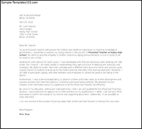 Experienced Kindergarten Cover Letter How To Write A Cover Letter For Preschool Cover Letter Templates