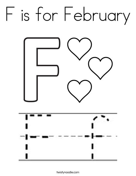 f is for february coloring page twisty noodle