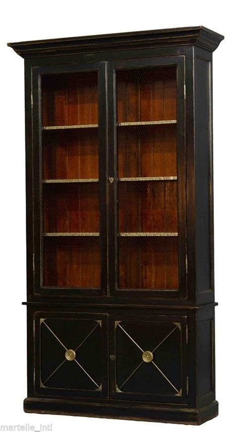 Lawyer Bookcases Glass Doors Bookcase Antique Elm Reclaimed Black Glass Doors Lawyer Docto