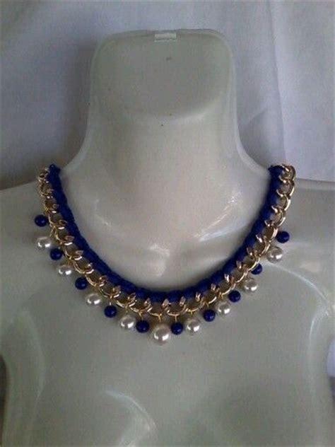 bisuteria con hilo tejido y cristal collar tejido con cadena y perlas collares de perlas