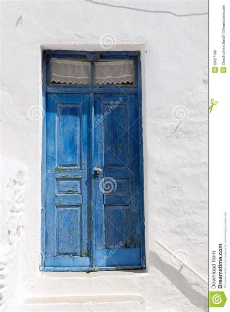 wooden blue door  greece royalty  stock image
