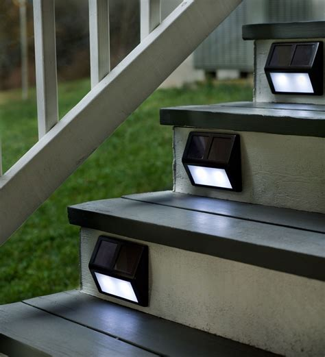 solar powered step lights light up your outdoor stairway with plow hearth solar