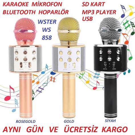 karaoke mikrofonu bluetooth hoparloer fm radyo mp muezik