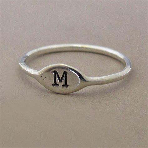 tiny sterling silver personalized initial stacking ring