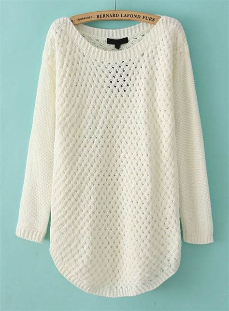 Sweater White white sleeve hollow knit pullover sweater sheinside
