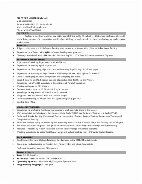 sle resume for 3 years experience in manual testing resume format for 3 years experience in testing resume