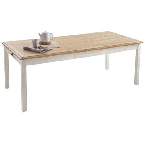 table en bois et banc table rectangulaire allonge berling blanc patin 233