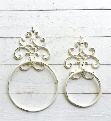 shabby chic towel ring in creamy ivory white towel