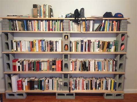 diy cinderblock bookshelf creations