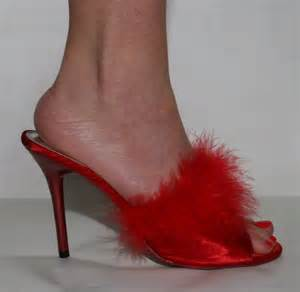 high heel bedroom slippers sexy red satin mules with marabou feather up to size 8