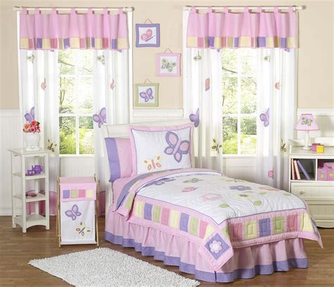 girls full bed kids butterfly bedding pink purple lavender twin full