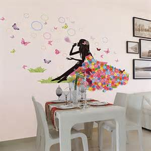 girls wall art stickers girl blow bubble kids room decor diy wall stickers flowers
