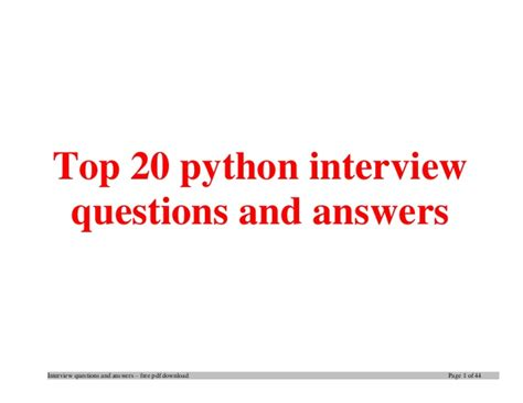 python tutorial questions top python interview questions and answers job interview tips