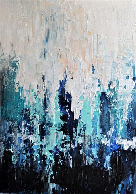 dark blue paint original textured abstract painting impasto seascape
