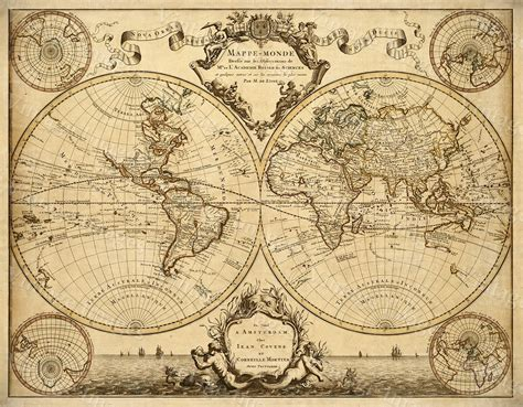 L Styles Antique by L Isle S 1720 World Map Historic Map Antique Style