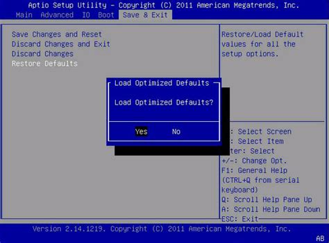 reset bios settings to default bios save exit menu selections sun blade x3 2b product
