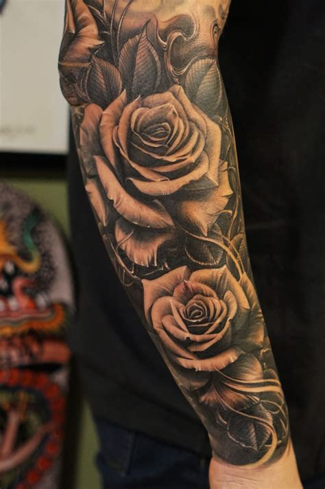 black rose sleeve tattoo roses vetoe black label co los angeles usa