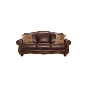 Leather Sofas With Wood Trim Mellwood Leather Sofa With Wood Furniture And Mattress Outlet