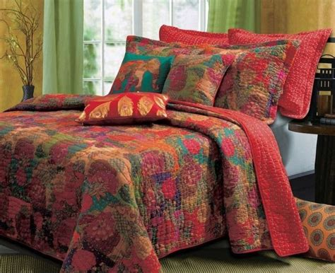 exotic comforters queen quilts set exotic red bohemian floral bedspread