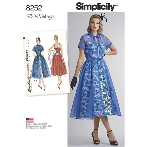 envelope dress pattern simplicity pattern 8252 misses 1950s dress and redingote