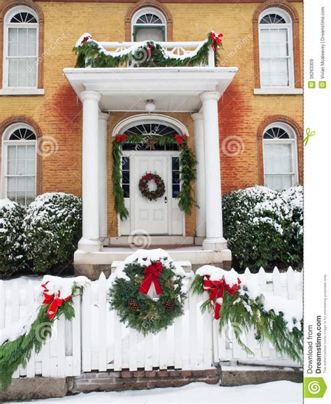 historic home with christmas decorations royalty free
