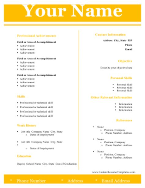 Two Column Resume Template Word Free Modern Two Column Resume Template