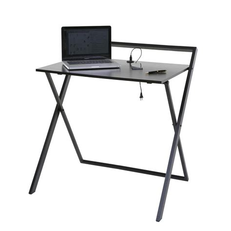 folding desk onespace no assembly brown and black folding desk