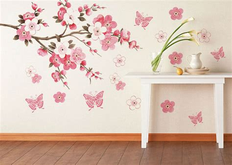Walldecor Assalamualaikum Pink pink flowers butterfly bathroom decor removable large wall stickers princess room
