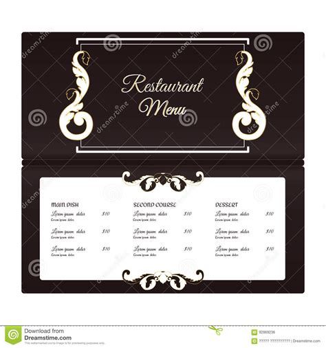 elegant horizontal restaurant menu template it is