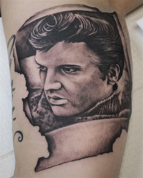 elvis burnt polaroid portrait tattoo by joshing88 on