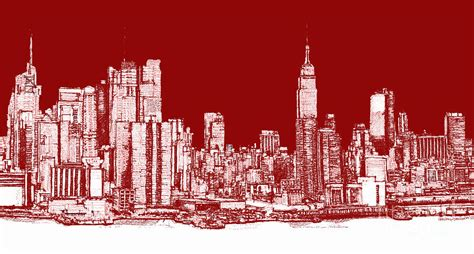 Wall Murals Cityscapes new york rectangular skyline red drawing by building art