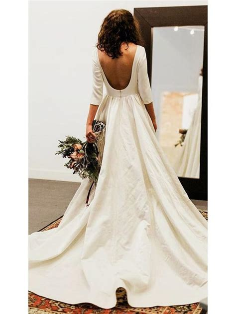 sleeve modest wedding dresses backless simple long