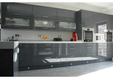 Grey Gloss Kitchen Cabinets by Dkbc High Gloss Acrylic Grey Flat M32 Kitchen Cabinets And