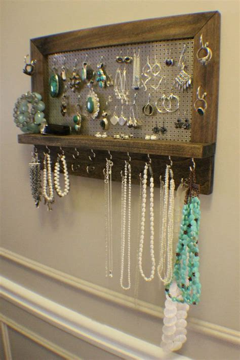amazing ash stained wall mounted jewelry organizer wall