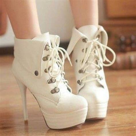 shoes high heel boots ankle boots white wheretoget