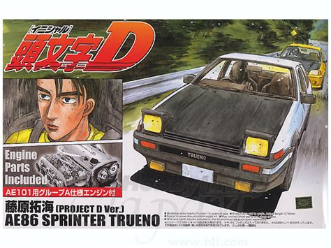 Aoshima Toyota Ae86 Sprinter Trueno Project D With Engine 1 24 1 24 toyota ae86 sprinter trueno fujiwara project d w by