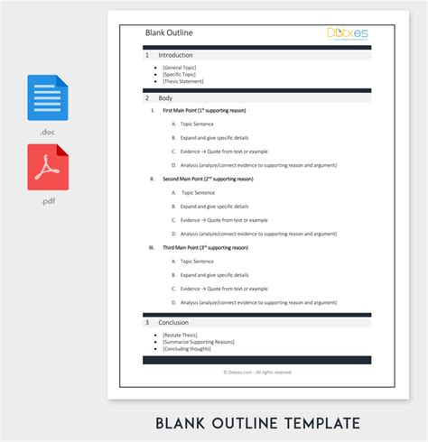 blank outline template 11 exles and formats for