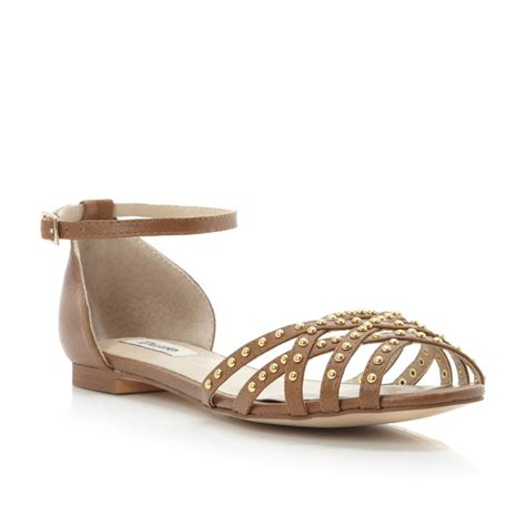 strappy brown sandals dune jackie womens brown strappy studded flat