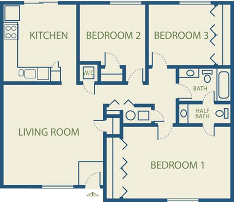 3bedroom Floor Plan by Apartment Plans