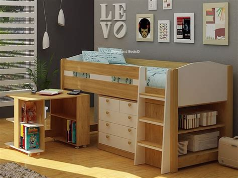 Mayfair Deluxe White And Oak Midsleeper By Sleepland Beds White Cabin Bed With Desk