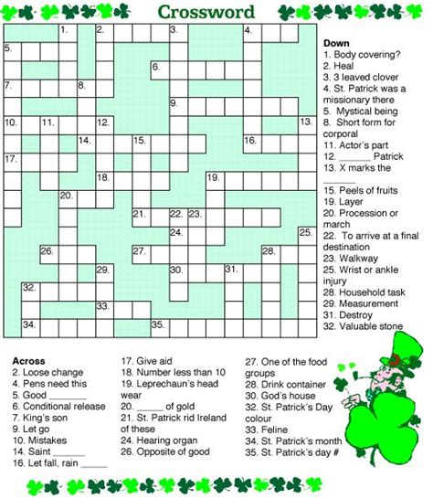 s day puzzle st s day crossword puzzle printable