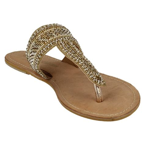 spot on leather collection beaded toe post sandals
